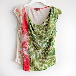 Anthro One September Abstract Mixed Pattern Top